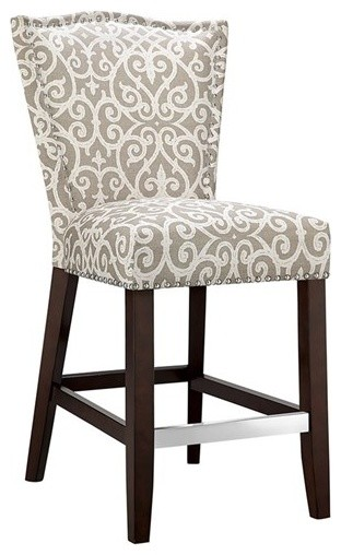 Madison Park Nate Hardwood and Birch Bar Stool, Taupe
