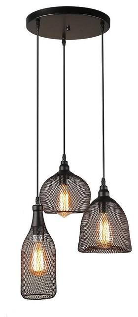 3 Light Pendanting Loft Wire Mesh Ceiling Trio Pendant