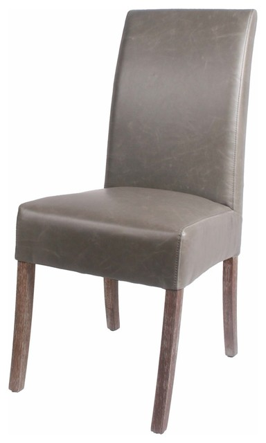 Valencia Bonded Leather Chairs With Driftwood Legs, Set Of 2, Vintage Gray.