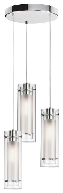 Dainolite 12153r-Cf-Pc 3 Light Round Pendant Pc Finish Clear Frosted Glass.