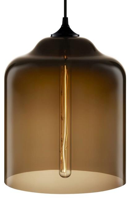Bell Jar Modern Pendant Light, Chocolate.