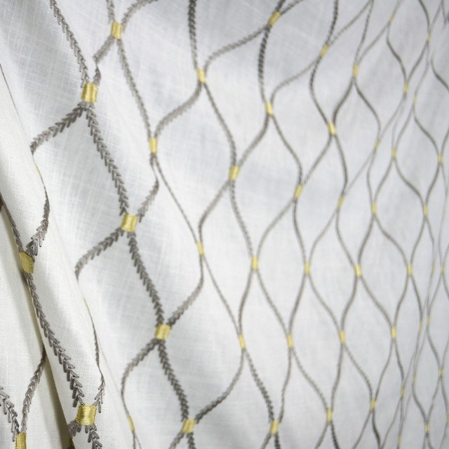 Trellis Fabric dean embroidery smoke wavely linen trellis fabric - traditional
