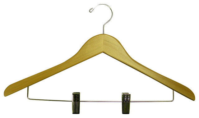 Genesis Flat Suit Hanger With Wire Clips, Natural.