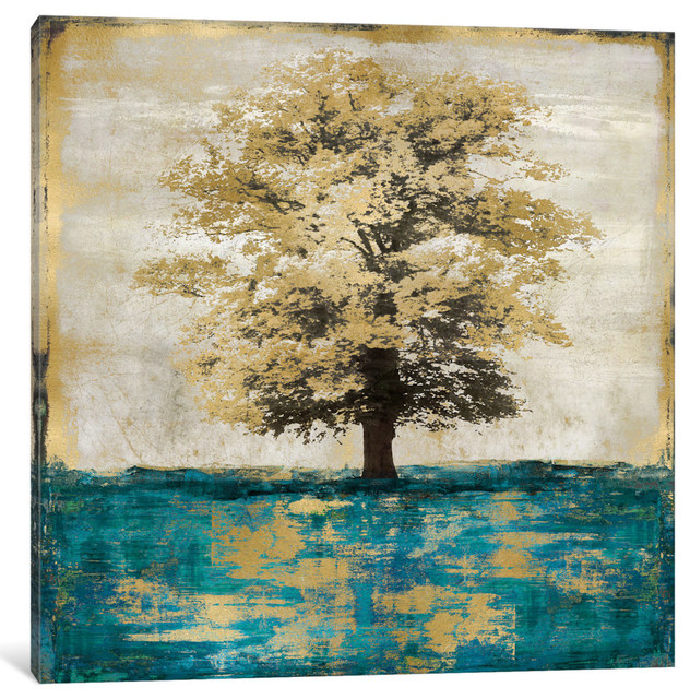 """""""stately - Aqua With Gold"""" By Eric Turner, Canvas Print, 37""""x37""""."""