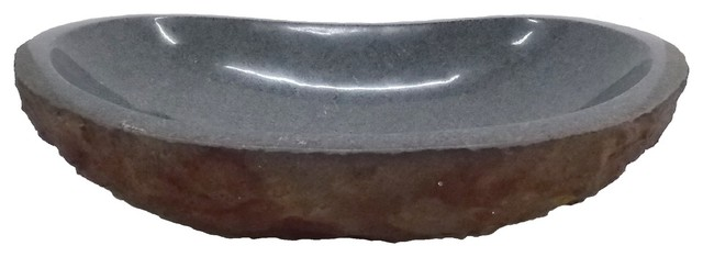 Eden Bath Padang Dark Granite Canoe Sink With Antique Split Exterior