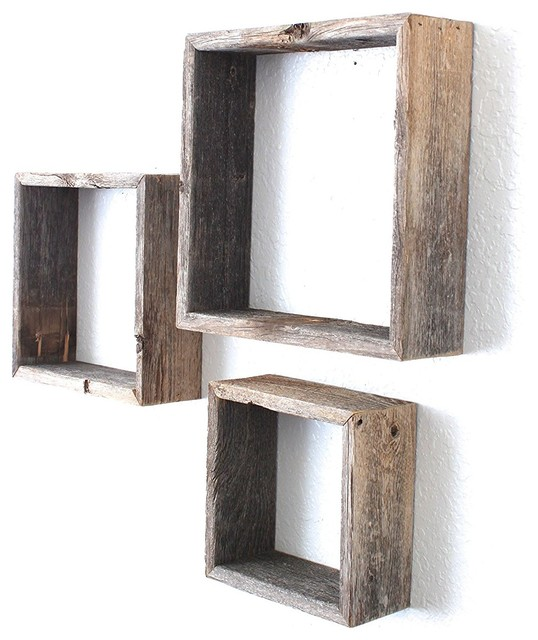 Barnwoodusa Rustic Open Box Shelves 100 Percent Reclaimed Wood Weathered Gray