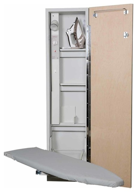 Premium Wall-Mount Swivel Ironing Center, Mirror Door.