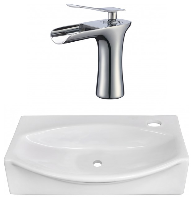 Above Counter Vessel Set For 1-Hole Right Faucet, White, 16.5.