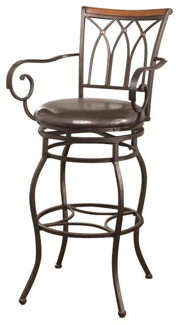 Coaster Inch Decorative Metal Barstool with Wood Trim traditional bar stools and