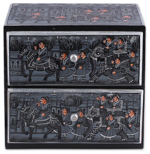 Novica the Royal Procession Wood Chest