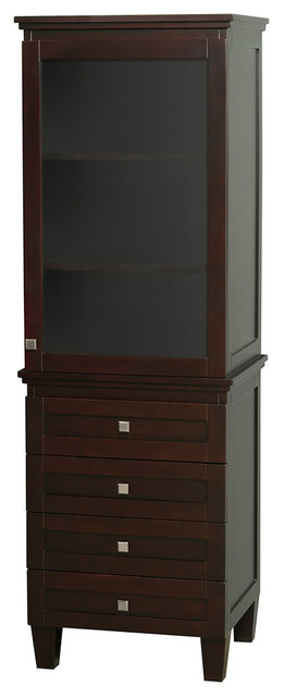 Bathroom Linen Tower, Espresso With Shelved Cabinet Storage And 4-Drawer.