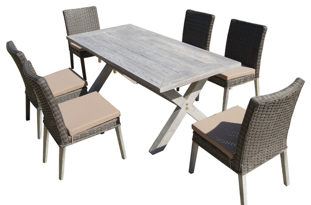 THY HOM Lindmere 7 Piece Antique Gray Hard Wood Wicker Patio Dining Set With
