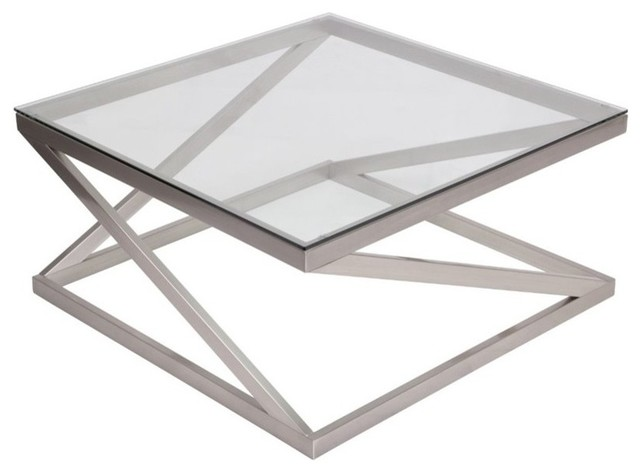Flash Furniture Coylin Square Glass Top Coffee Table, Brushed Nickel  Contemporary Side Tables