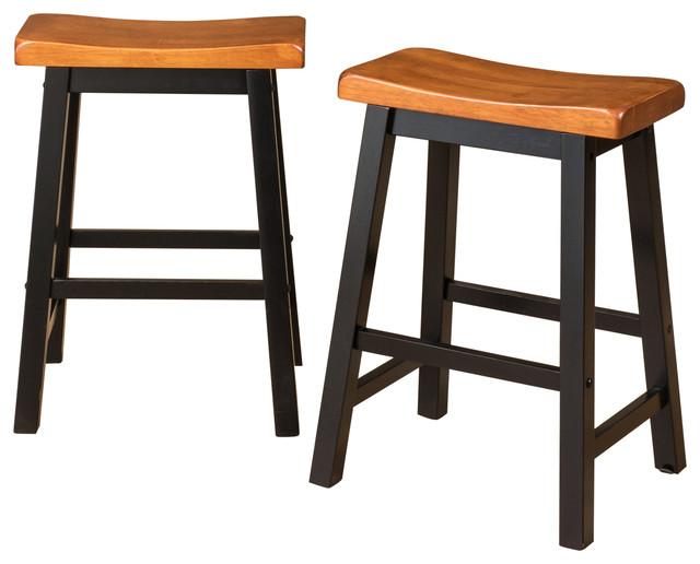 Marcy Walnut Saddle Wood Counter Stools Set Of 2