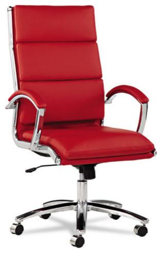 Alera Neratoli Series High-Back Swivel/tilt Chair, Red Soft Leather.