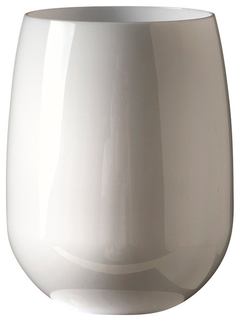 Stemless Wine Glasses, White, Set Of 4.
