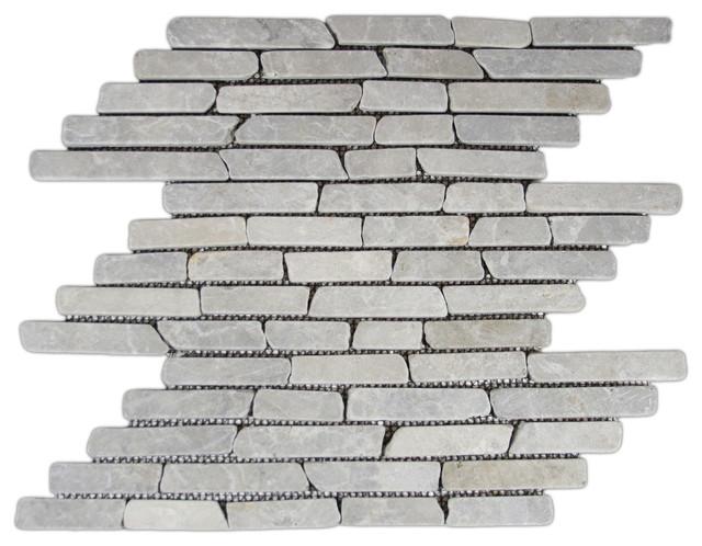 12x12 Light Gray Pencil Stone Mosaic Tile Traditional Mosaic