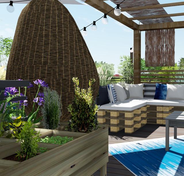 le cap ferret sur un toit terrasse bord de mer terrasse et patio toulouse par emilie. Black Bedroom Furniture Sets. Home Design Ideas