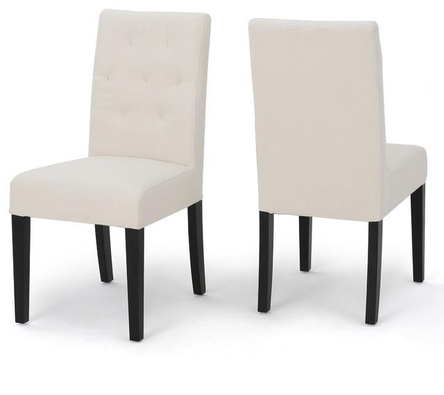 Gresham Posh Fabric Dining Chairs, Ivory, Set Of 2.