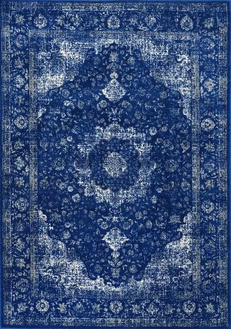 Verona Area Rug, Rectangle, Dark Blue, 8&x27;x10&x27;.