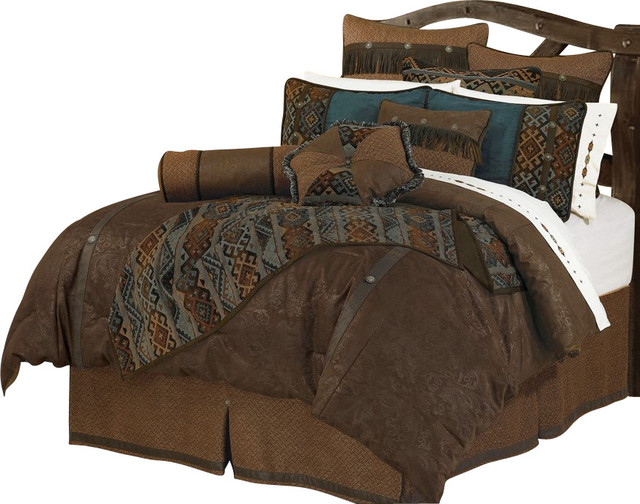 Rio Faux Leather Luxury Comforter Set Rustic Comforters And Comforter Sets By Bitterroot