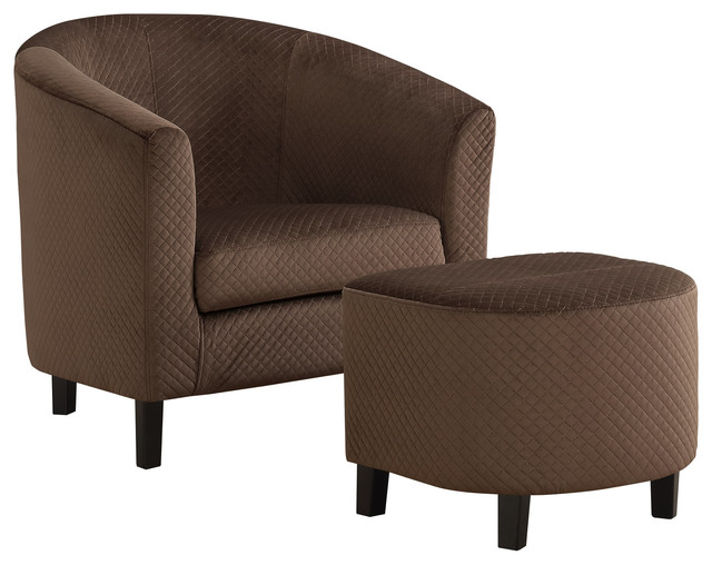 Set Of 2 Living Room Accent Chairs.2 Piece Quilted Fabric Accent Chair And Ottoman Set Dark Brown