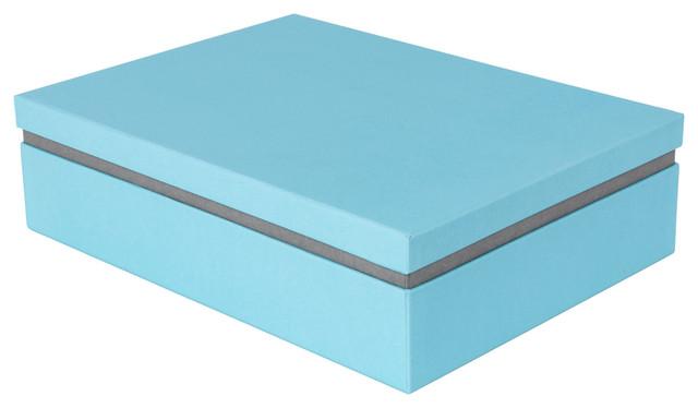 Albin Floating Lid Box Blue/Grey Modern Storage Bins And Boxes