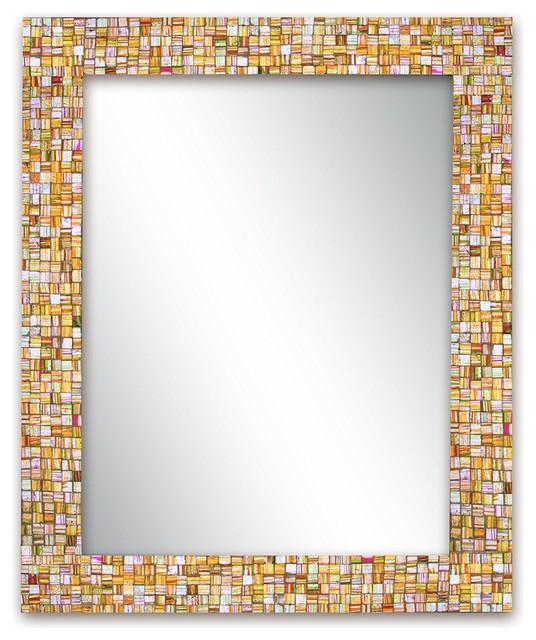 Hard Candy Rainbow Mirror, Striped Glass Mosaic Tile.