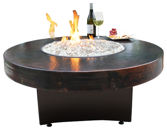 Oriflamme Gas Fire Pit Table Hammered Copper