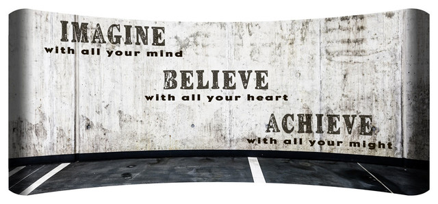 Imagine Believe Achieve Hd Curved Steel Wall Art