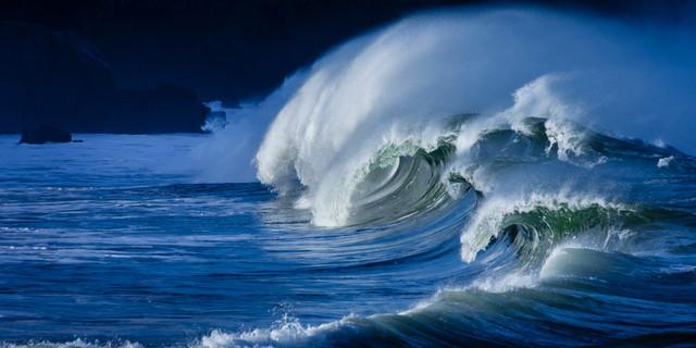 "Hawaii Shorebreak, Canvas Giclee, 60""x30"""