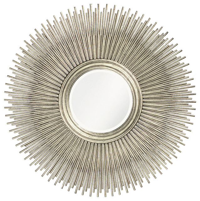 Howard Elliott Singapore 50 Round Silver Wall Mirror Midcentury Mirrors