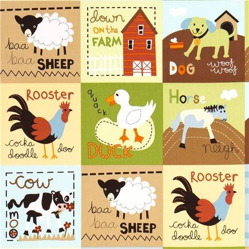 colourful farm animal squares fabric by Robert Kaufman