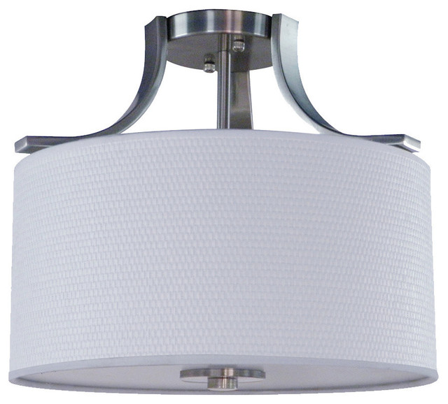 Lesha 3-Light Semi Flush, Satin Steel.