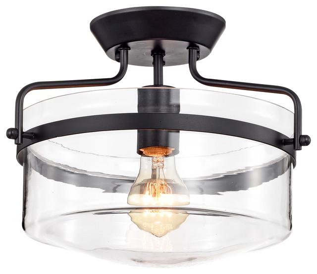 Matte Black Semi Flush Ceiling Lamp