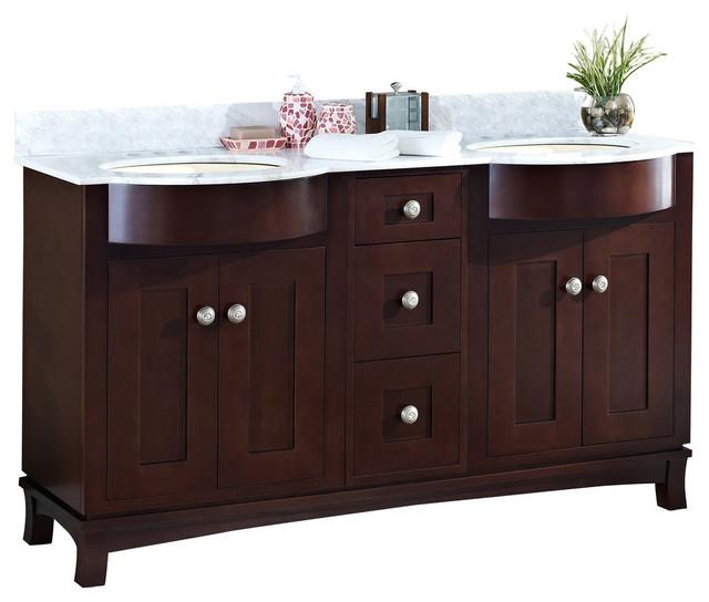 """Cherry Wood-Veneer Vanity Set, Coffee, 60""""X22 ..."""