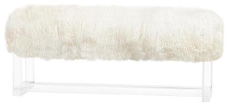 Avalon Bench In Ivory Sheepskin. -1
