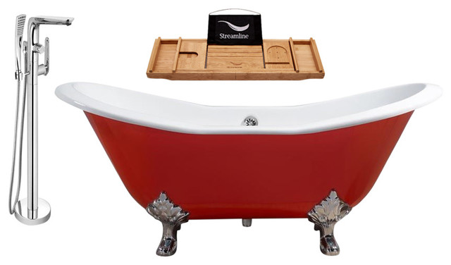 cast iron tub, faucet and tray set - traditional - bathtubs -
