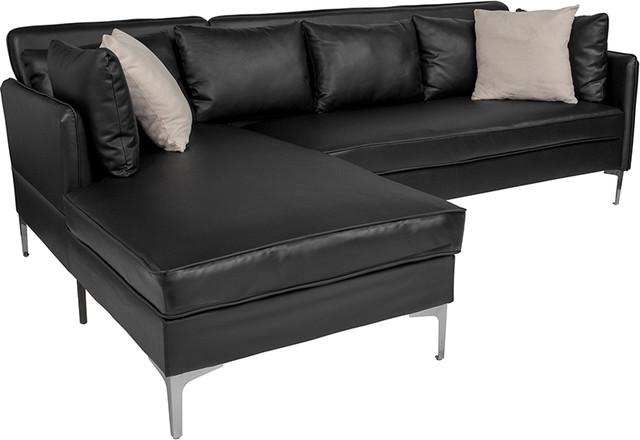 Merveilleux Black L Shape Sectional Chaise