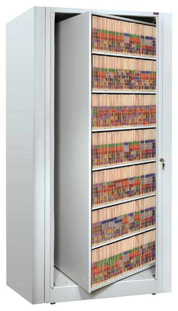 Ez2 Rotary File Shelving, 7 High, Legal Depth, Locking Starter, Gray Mist.