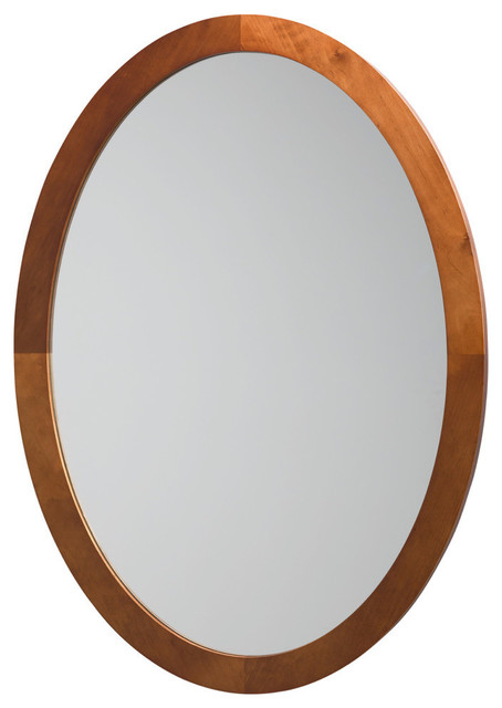 Ronbow Contemporary Solid Wood Framed Oval Bathroom Mirror Contemporary Bathroom Mirrors