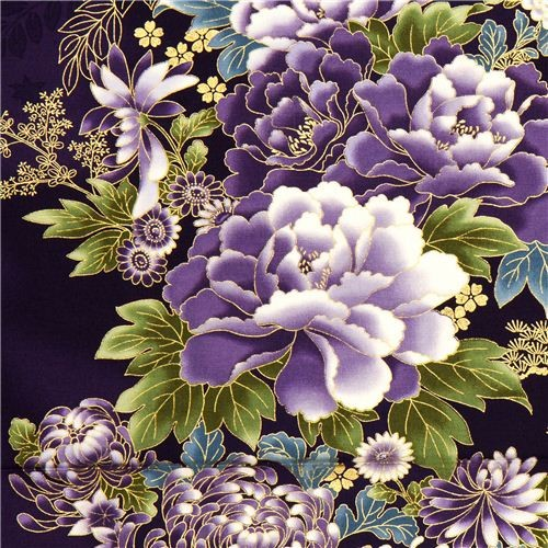 purple Robert Kaufman fabric with Asian flowers & border