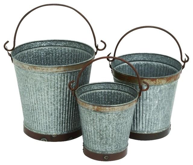 set of 3 metal buckets large rustic charm home patio garden decor 49113 rustic garden