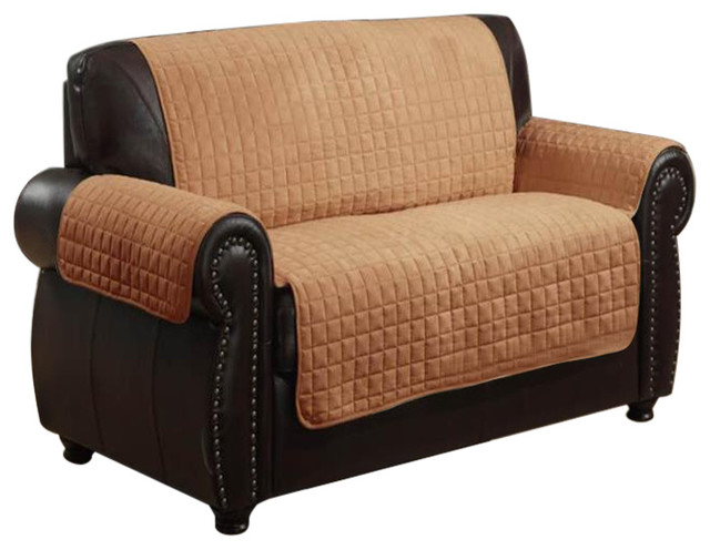 Beautiful Furniture Protector Pet Cover Quilted Microsuede Loveseat Camel  Traditional Slipcovers And Chair