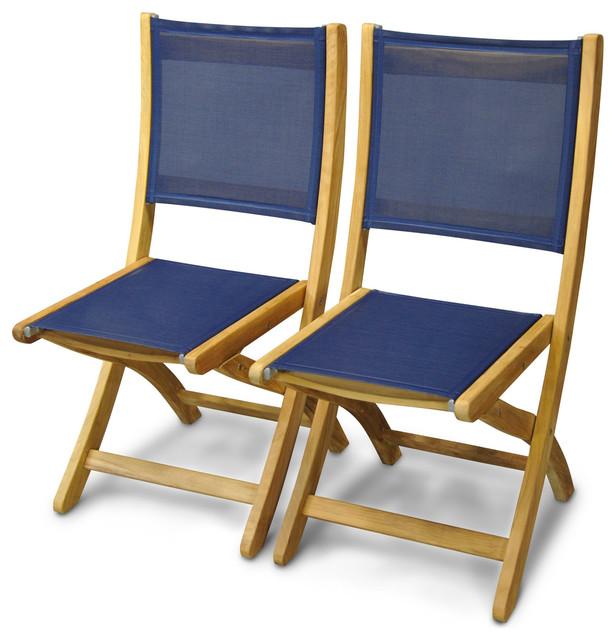 Teak And Sling Folding Side Chair Pair, Navy, Providence From Goldenteak