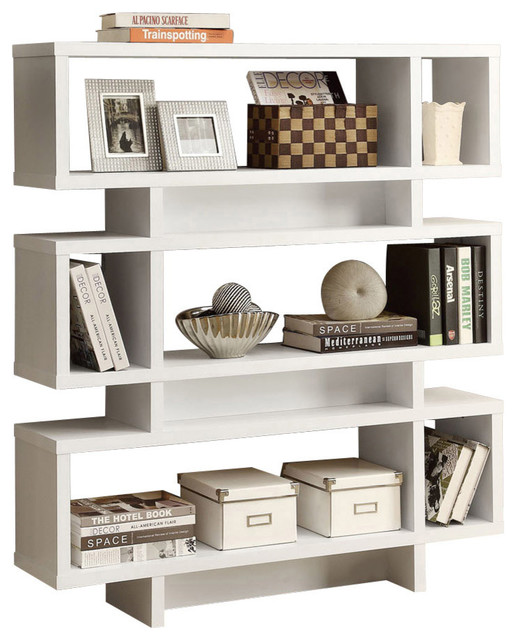"Bookcase, 55"", White Modern Style."
