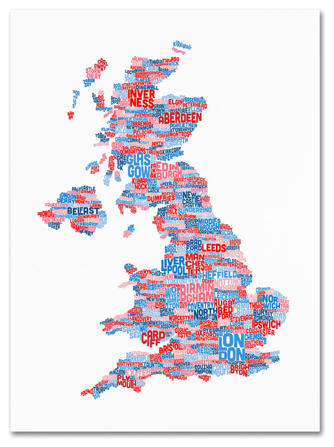 Uk Cities Text Map 7 Canvas Art By Michael Tompsett Contemporary Prints And Posters By Trademark Global