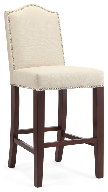 Brooke Linen Bar Stool, Cherry
