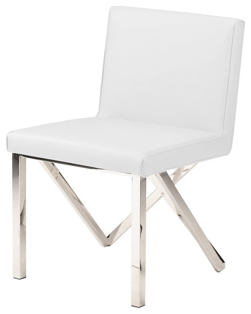 Superbe Talbot Dining Chair, Armless Side Chair, Naugahyde Leather, White