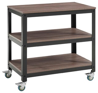 Modern Gray Walnut Vivify Tiered Serving Stand